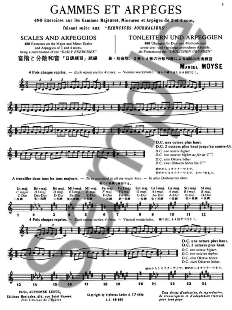 Marcel Moyse Flute Sheet Music Study Exercices Journaliers Flute