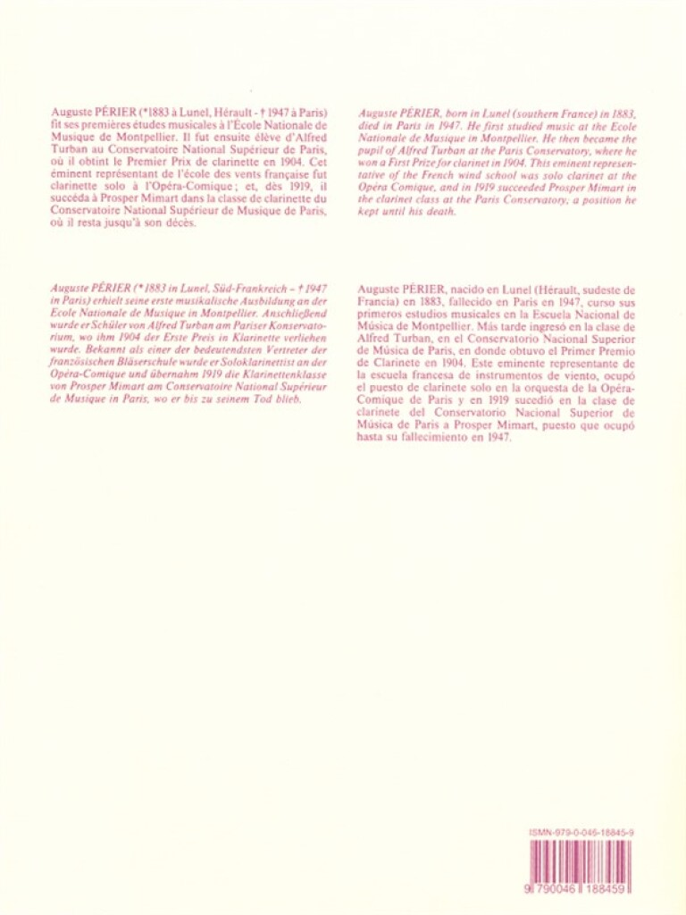 Perier: 20 Etudes Faciles & Progressives: Clarinet