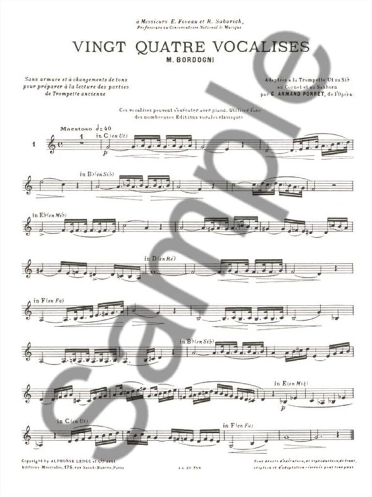 Bordogni 24 Vocalises Trumpet Contemporary