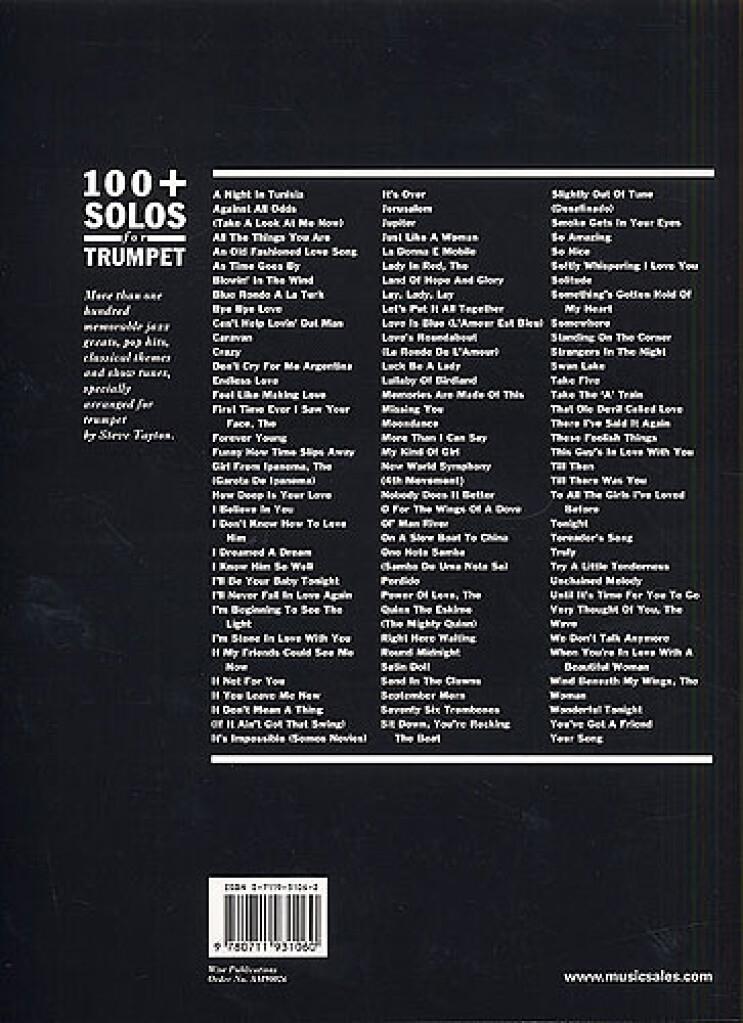 100 Plus Solos For Trumpet: Arr  (Steve Tayton): Trumpet | Musicroom com