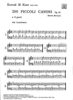 14  Per Pianoforte 200 Piccoli Canoni A 2 Parti Op