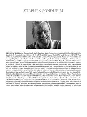 Stephen Sondheim: Sondheim for Singers - Baritone/Bass Vocal