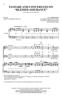 Phoebe P. Knapp: Fanfare and Concertato on Blessed Assurance: SATB