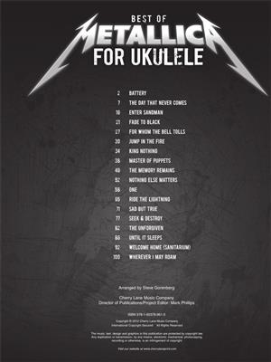 Metallica: Best of Metallica for Ukulele: Arr. (Steve Gorenberg): Ukulele