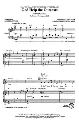 Alan Menken: God Help The Outcasts: Arr. (Audrey Snyder): SATB