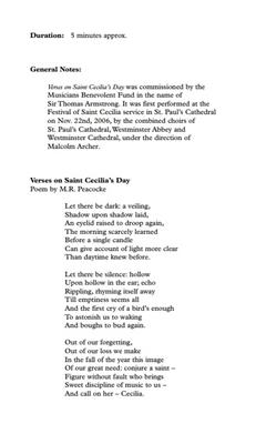 Richard Rodney Bennett: Verses On St. Cecilia's Day: Mixed Choir
