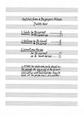 Judith Weir: Sketches From A Bagpipers Album: Instrumental