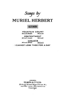M. Herbert:M Violets High Voice And Piano (G Major)