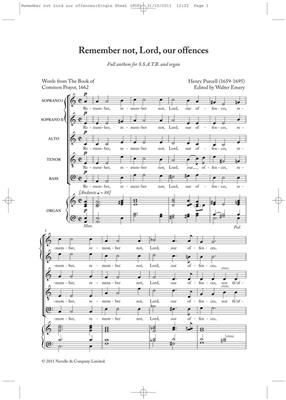 Henry Purcell: Remember Not Lord Our Offences (New Engraving): Mixed Choir