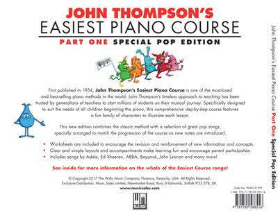 John Thompson: John Thompson's Easiest Piano Course: Pop Edition: Piano or Keyboard