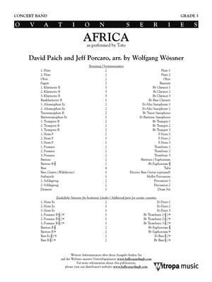 David Paich: Africa: Arr. (Wolfgang Wössner): Concert Band