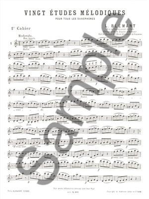 L Blemant: 20 Etudes Melodiques 1: Saxophone