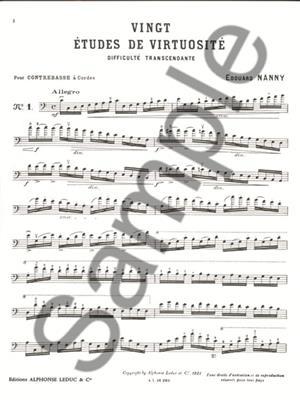 Nanny: 20 Etudes De Virtuosite: Double Bass
