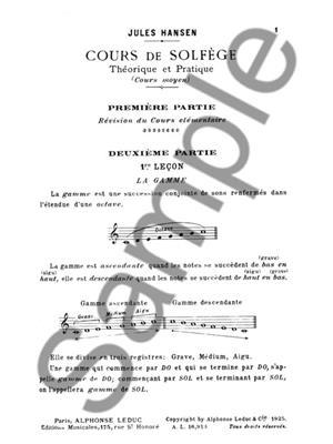 Hansen: Solfege Theorique et Pratique Cours Moyen: Solfege