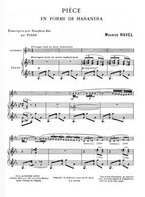 Maurice Ravel: Pièce En Forme De Habanera: Alto Saxophone