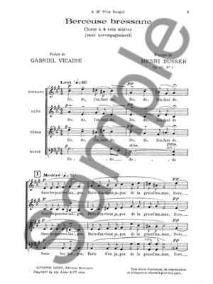 Henri Büsser: Berceuse Bressane: Mixed Choir