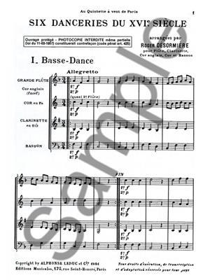 Desormiere: 6 Danceries Du 16Eme Siecle: Wind Ensemble