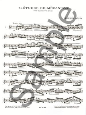 Eugène Bozza: 14 Etudes De Mecanisme: Clarinet