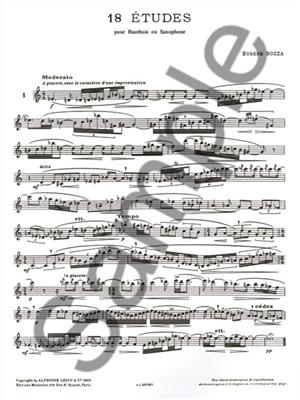 Eugène Bozza: 18 Études For Oboe Or Saxophone: Oboe