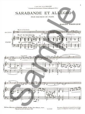 Gabriel Grovlez: Sarabande et Allegro for Oboe and Piano: Oboe