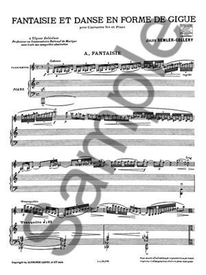 Jules Semler-Collery: Fantaisie Et Danse En Forme: Clarinet