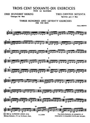 James Brown: Three Hundred And Seventy Exercices For The Oboe: Oboe