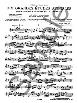 Giuseppe Ruggiero: 10 Grandes Etudes atonales: Clarinet