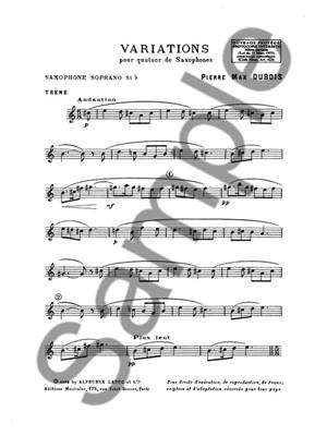 Pierre-Max Dubois: Variations: Saxophone Ensemble