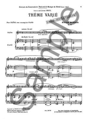 Henri Büsser: Theme Varie Op68: Flute