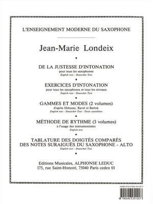Jean-Marie Londeix: Tablature des Doigtes compares des Notes suraigues: Saxophone
