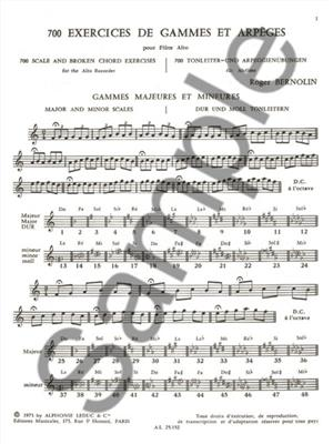 Roger Bernolin: 700 Exercices: Gammes et Arpeges: Recorder