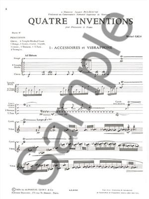 Cals: Four Inventions for Percussion and Piano: Percussion