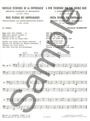 François Rabbath: Nouvelle Technique de la Contrebasse, Cahier 1: Double Bass