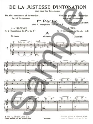 Jean-Marie Londeix: De La Justesse De L'Intonation: Saxophone