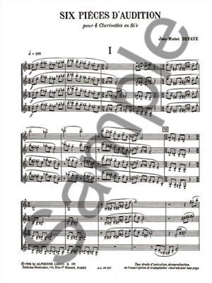 Jean-Michel Defaye: 6 Pièces d'audition - 4 clarinettes: Clarinet Ensemble