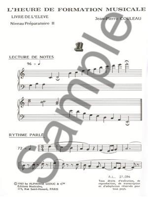 Jean-Pierre Couleau: L'heure de formation musicale - Prép. 2 - Elève: Musical Education