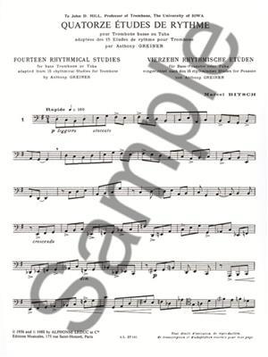 Greiner: 14 Etudes De Rythme: Trombone or Tuba