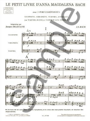 Johann Sebastian Bach: Petit Livre D'Anna Magdalena Bach: Percussion Ensemble