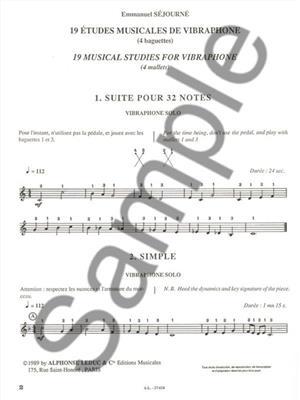 Sejourne: 19 Musical Studies for Vibraphone (Volume 5): Mallet Percussion
