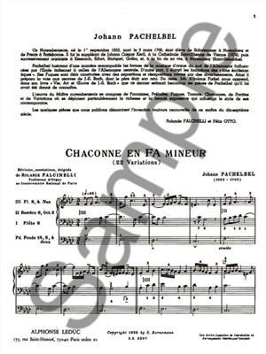 Johann Pachelbel: Chaconne En Fa Mineur: Organ