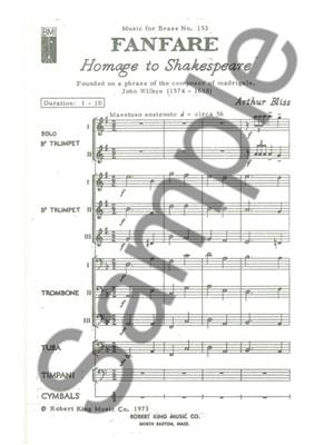 Bliss: Fanfare Homage To Shakespeare: Brass Ensemble