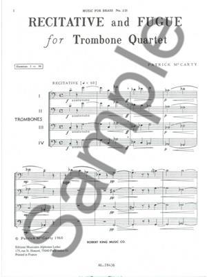 Patrick McCarty: Patrick McCarty: Recitative and Fugue: Trombone Ensemble