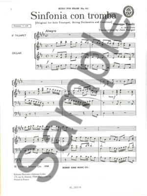 Torelli: Sinfonia Con Tromba: Trumpet, Cornet or Flugelhorn