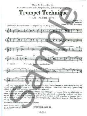 Hovaldt: Trumpet Technique Lip Flexibilit: Trumpet, Cornet or Flugelhorn