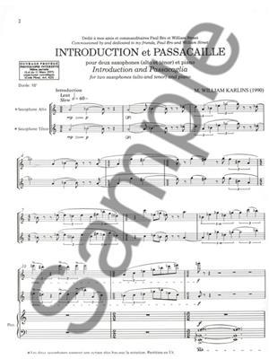 Karlins: Introduction Et Passacaille: Saxophone