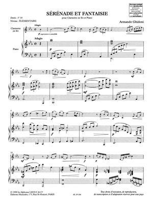 Armando Ghidoni: Serenade Et Fantaisie: Clarinet
