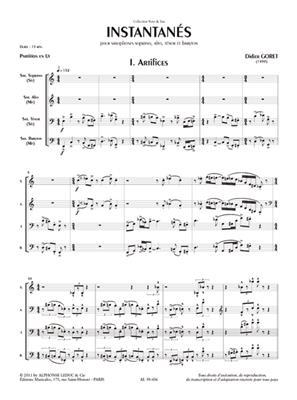 Goret: Instantanes: Saxophone Ensemble