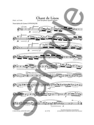 André Jolivet: Chant De Linos: Arr. (Carmen Lefrançois): Soprano Saxophone