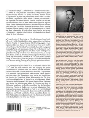 Henri Dutilleux: Three Posthumous Songs: Vocal