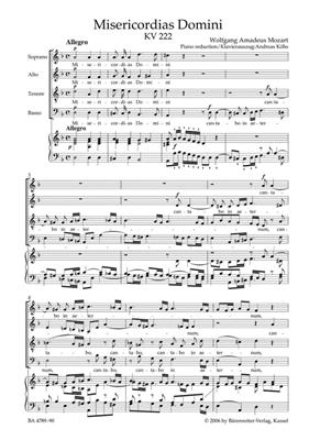Wolfgang Amadeus Mozart: Misericordias Domini KV222: Piano- or Organ Reduction